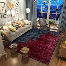 Alfombra de costuras rojas oscuras abstracción europea, alfombra para el hogar, dormitorio, cabecera, entrada, ascensor, suelo, sofá, mesa de centro, alfombra antideslizante