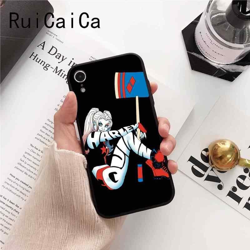 Ruicaica DC ハーレークイン自殺分隊ジョーカーウインクパターン電話ケース iphone 5 5Sx 6 7 7 プラス 8 8 プラス X XS 最大 XR 10 カバー