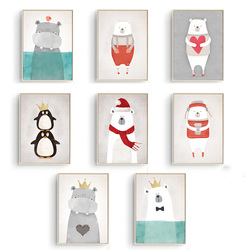 Nordic cute animals bear hippo penguins a4 diy canvas painting print poster kids room wall pictures.jpg 250x250