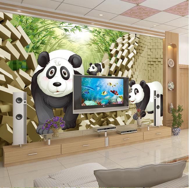 3D photo wallpaper custom 3d wall murals wallpaper mural 3 d panda TV  setting wall paint wallpaper 3d living room wall decor-in Wallpapers from  Home ...