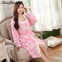 Chaffererレディ暖かいフランネルパジャマツーピーススーツ女性冬服寝間着厚みローブ愛デザインセクシーなピンクパジャマ