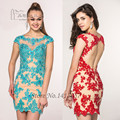 Robe de Cocktail Blue Red Christmas Lace Cocktail Dresses Cap Sleeve Beaded Backless Party Dress Gowns Vestidos de Fiesta Cortos