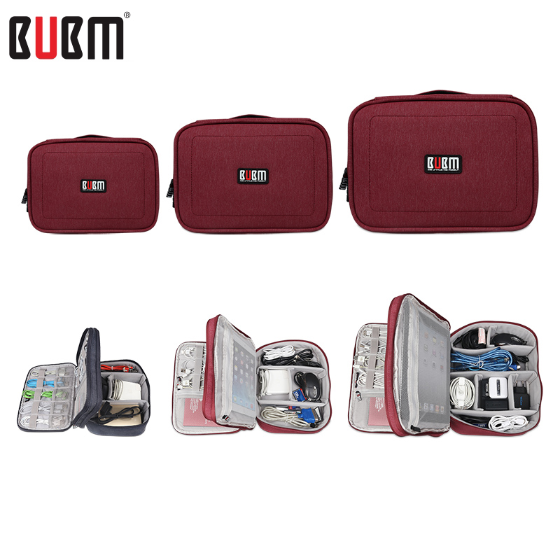 BUBM double three layers power bank bag sorting bag digital receive toiletries towel blue black rose updated style 4 size