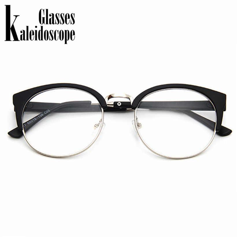be4bb96dc4a3c ... Kaleidoscope Glasses Women Cat Eye Glasses Frame Half Metal Cateyes  Spectacle frames Retro Round Myopic Eyewear ...