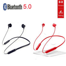 Neck-Mounted Sports Bluetooth 5.0 Earbuds Twins In-Ear Earphone Ladies Hot Solid Earphones(China)
