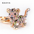2016 Creative Colorful Lovely Tiger Key Chains Gem Studded Luxury Pendant Key Holder Small Gifts for Friends Wholesale Factory