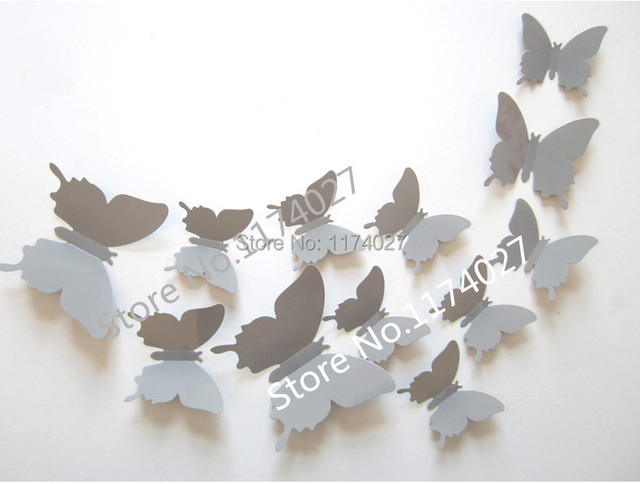 Free Shipping 12pcs PVC 3d Butterfly Home Decor Solid Grey Color Small Cute  Wall Stickers Decoration