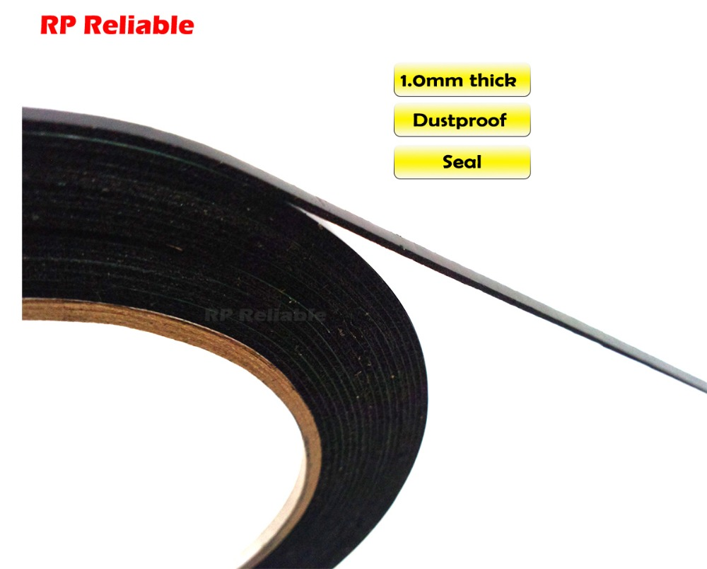 (1mm Thick) 3mm~10mm*5M, Black Cellphone Dust Proof Sponge Foam Tape Double Sided Adhesive, For Phone Anti Dust Repair, Sealing