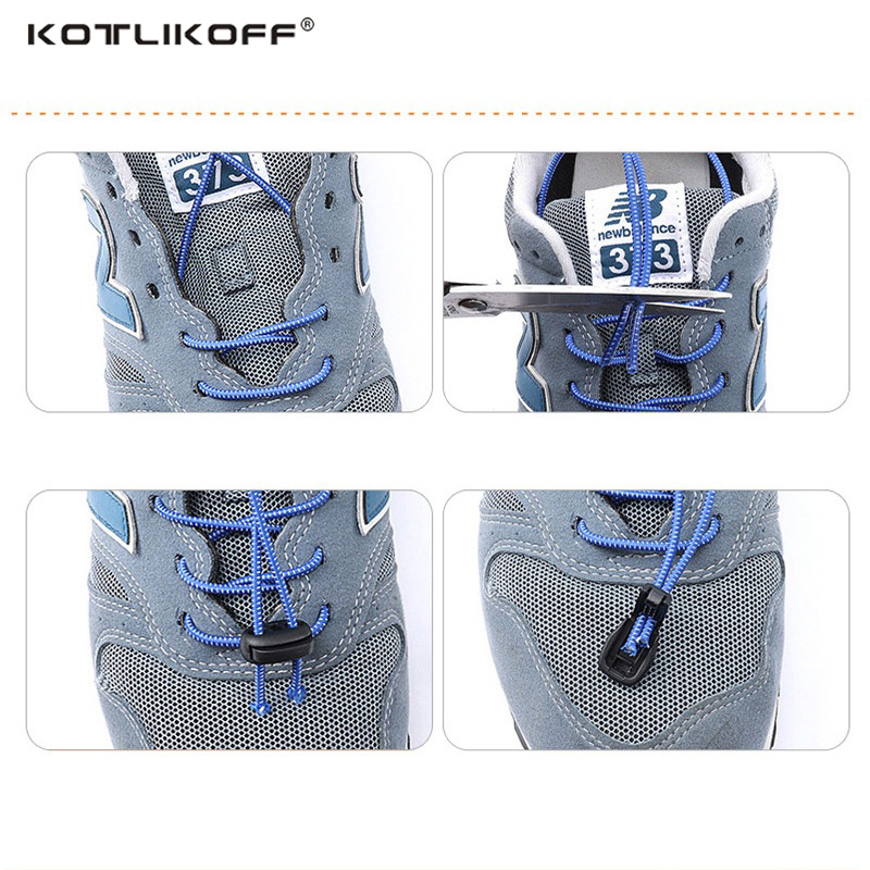 KOTLIKOFF 100CM 1 pair Elastic strecth Locking no tie lazy shoeLaces sneaker elastic Shoelaces children safe elastic shoe lace
