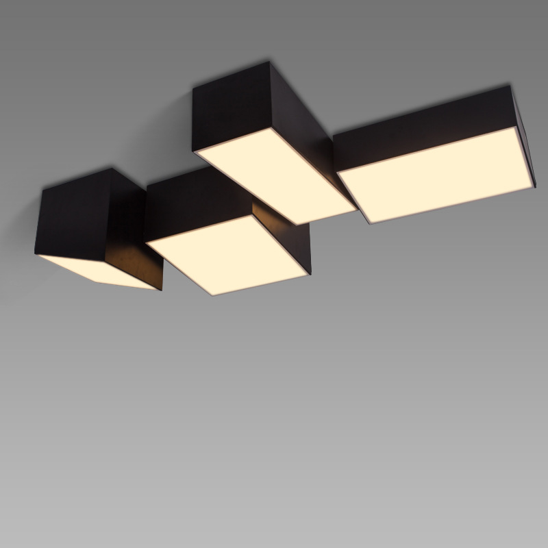 Combination Of Geometric Box Led Ceiling Light For Living