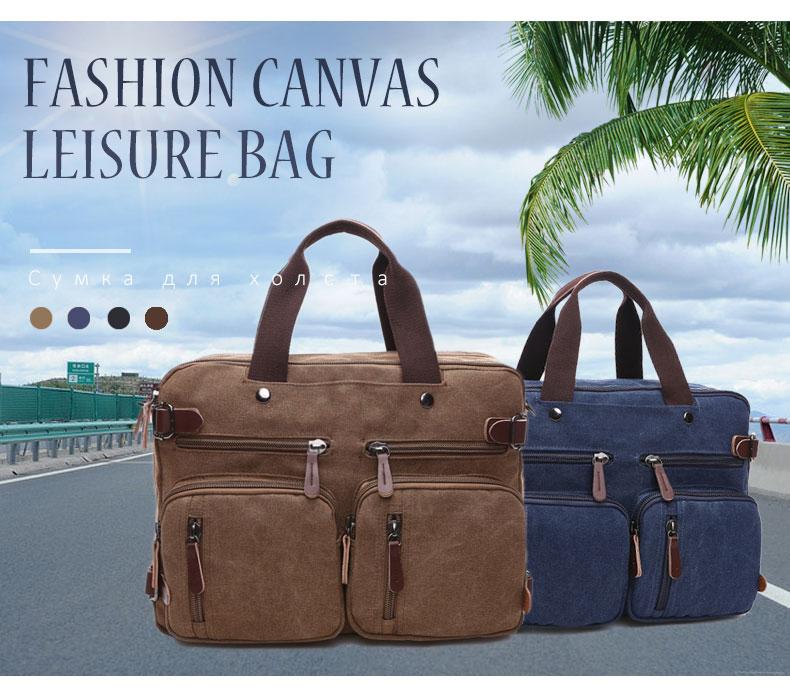 Scione Men Canvas Bag Leather Briefcase Travel Suitcase Messenger Shoulder Tote Back Handbag Large Casual Business Laptop Pocket