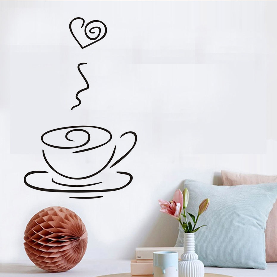 Heart Tea Cup Wall Stickers Creative Restaurant Kitchen Wall Decor PVC  Vinyl Removable Waterproof Wall Decals Simple Design