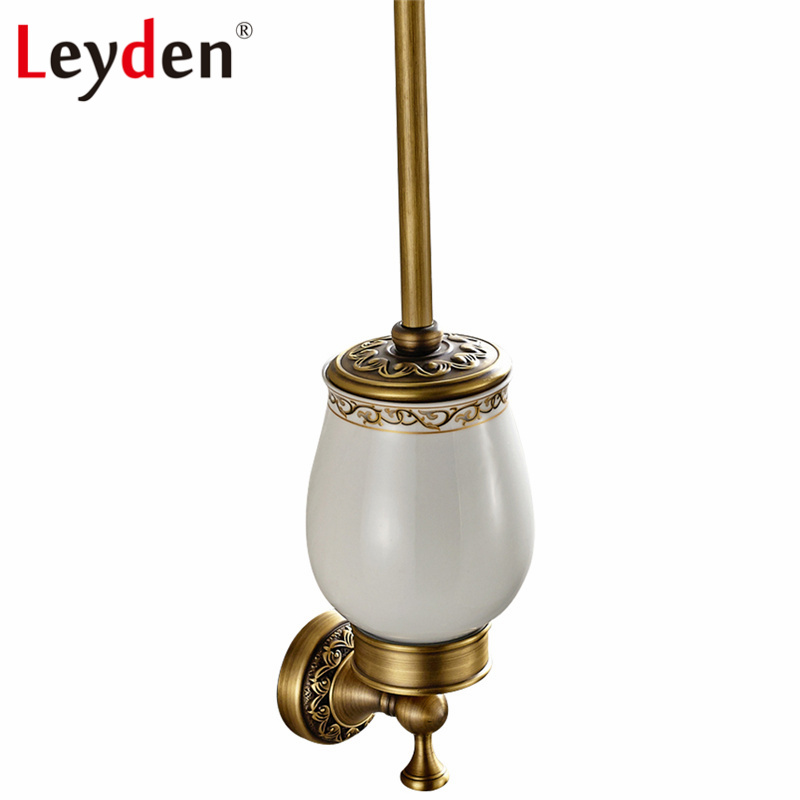 Leyden Antique Brass/ ORB Wall Mounted Toilet Brush Holder Copper Antique/ Black Toilet Brush and Holder Bathroom Accessories solid brass antique brass bathroom toilet paper holder with brush bathroom accessories wall mounted