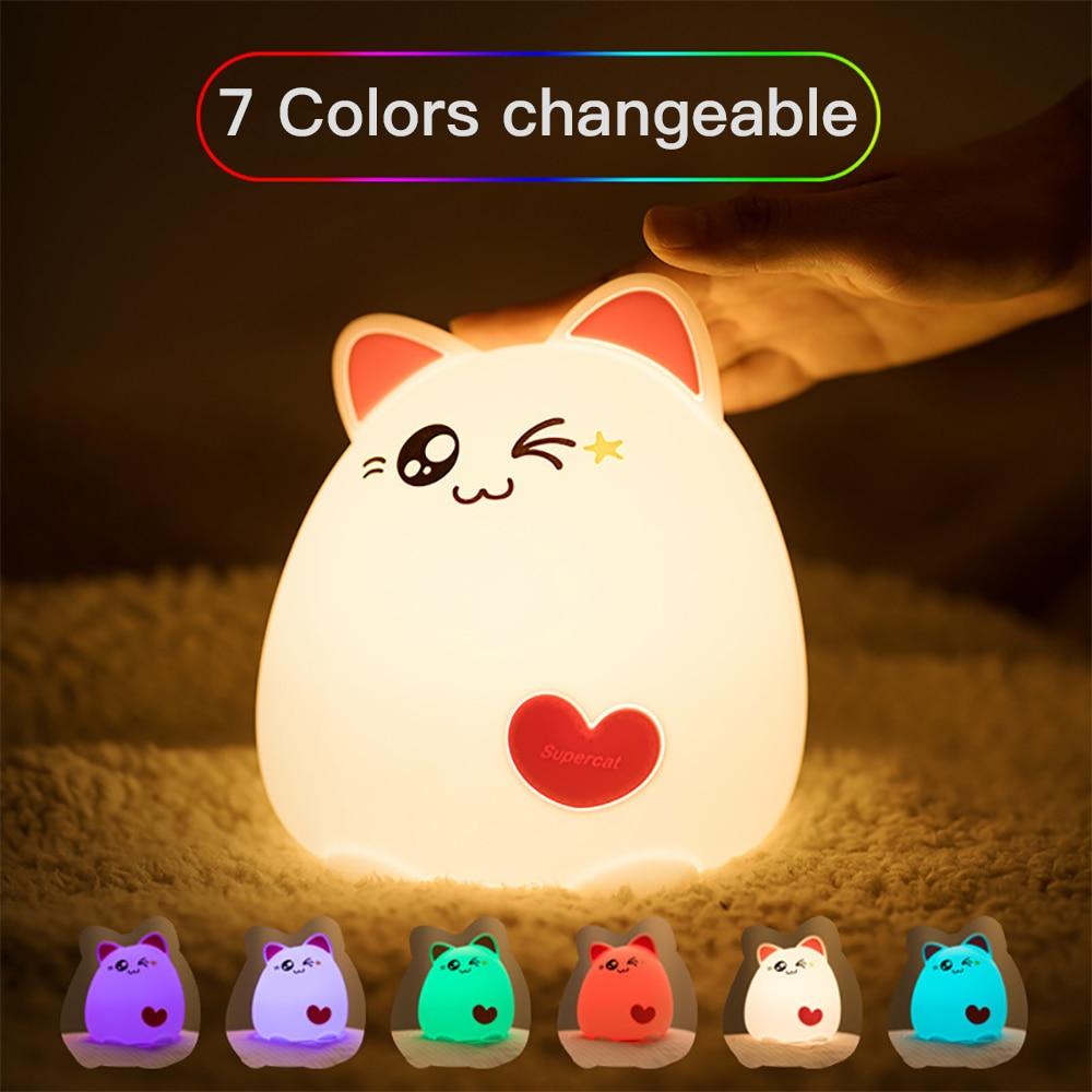 Premium 7 Colors Cat Led Usb Children Animal Night Light Silicone Soft Cartoon Baby Nursery Lamp Breathing Led Night Light Home & Garden