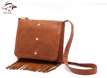 2018 Famous Brand Brown Tassel Handbag Purse Messenger Bag Women Pu Leather Handbag Shoulder Pouch New Fashion Fringe Small Bag