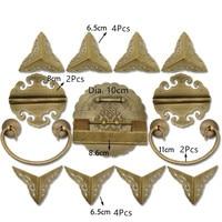 Chinese Vintage Brass Lock Set Fit 60~100cm Wooden Box,Vase Buckle Hasp Latch Lock+ Hinge+Corner+Handle,Bronze Tone,1Set