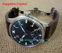 Сапфировое стекло бабочка пряжки 44 мм Parnis черный циферблат 6497 Механический ручной взвод движение световой мужские часы fx9