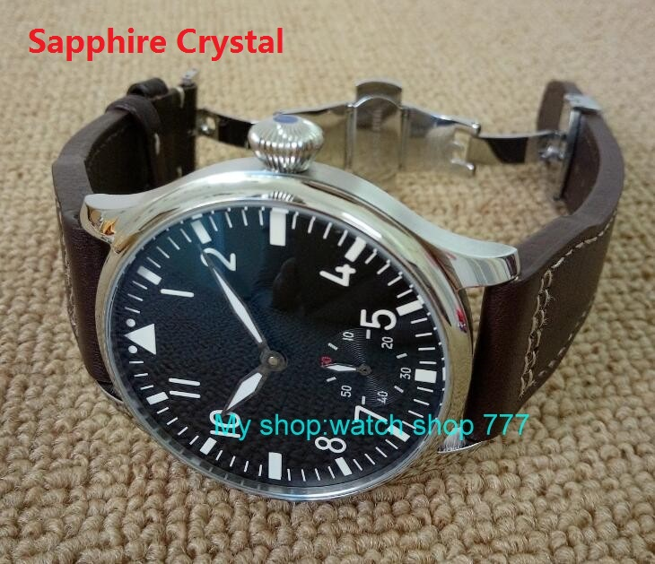 Sapphire Crystal Butterfly buckle  44mm PARNIS Black dial 6497 Mechanical Hand Wind movement Luminous men's watches FX9 44mm black sterile dial green marks relojes 6497 mens mechanical hand winding watch luminous armbanduhr cm164bk