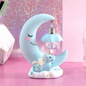 Image 3 - LED cartoon ornaments night light unicorn moon light children baby room display lamps girls cute gifts