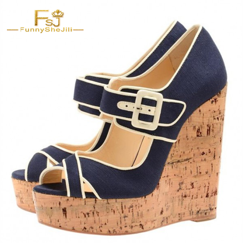 ad669a7a4c5bd Woman Shoes Wedges Retro Buckle Strap Navy Denim Heels Cork Peep Toe  Platform Pumps Platform Blue