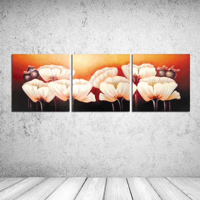 Лидер продаж комплект из 3 предметов стены картина маслом Печать на холсте о большие белые цветы Пейзаж Wall Art Домашний Декор без рамы rz-cc094