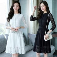 New Korean Women Lace 3/4 Sleeve Evening Party A-Line Slim Short Dress