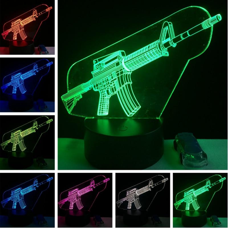 Cool 3D Submachine Gun Boy Gift Led Night Light Touch 7