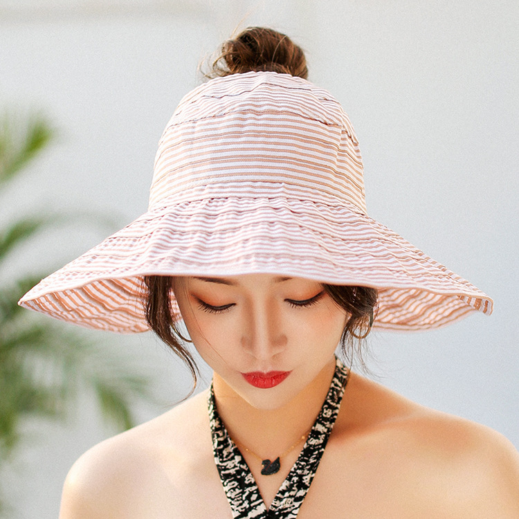 a7fd6e26c47 2018 Fashion Hats Summer For Women Striped Adjustable Girls Summer Hat  Large Brimmed Hat On The Beach-in Sun Hats from Apparel Accessories on  Aliexpress.com ...