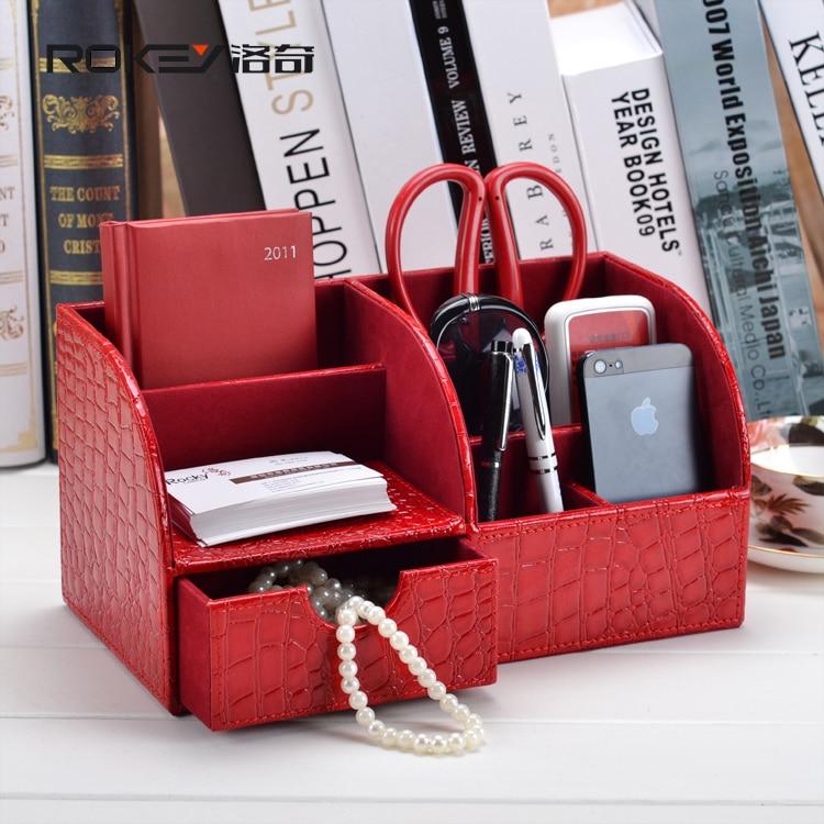 Rocky rouge crocodile bureau bureau bureau boîte de rangement de stockage créative moderne multi - fonctionnelle papeterie