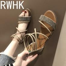 RWHK Shoes female 2019 new Korean flat shoes soft sister wild simple rhinestone straps Roman sandals womens B108