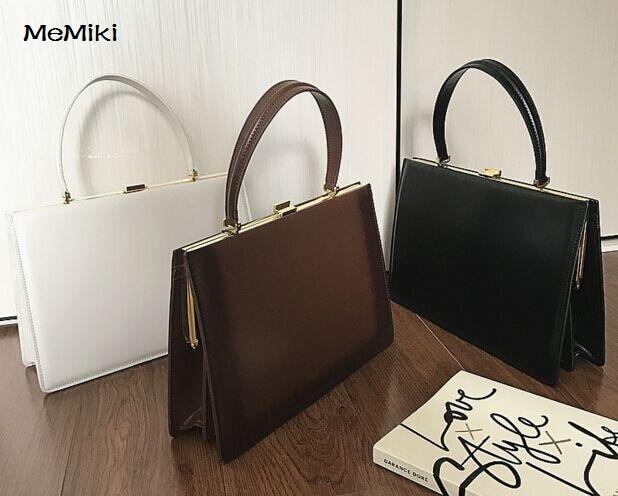 Bolso casual de cuero genuino Vintage para mujer bolso de negocios con lentejuelas de alta calidad 33 cm-in Cubos from Maletas y bolsas    1