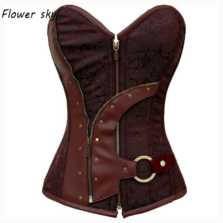 Zipper Steampunk   Corset   Sexy   Bustier   Women Corselet and   Bustier   lace up   Corset   Overbust Slim   Corsets