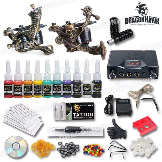 Free ship Tattoo Kit 2 LUO'S  top quality tattoo Machine 10 Tattoo Inks Pro Dual Power Supply