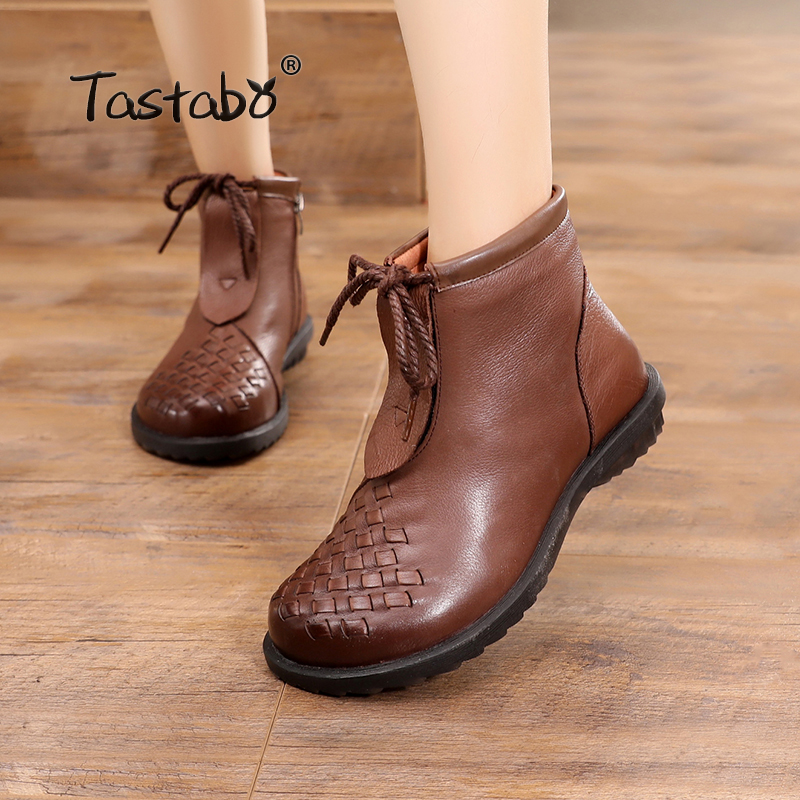 Tastabo Autumn Boots Ankle Boots Handmade Lady Flat Shoes Casual Warm Women shoes Ladies Winter Boots