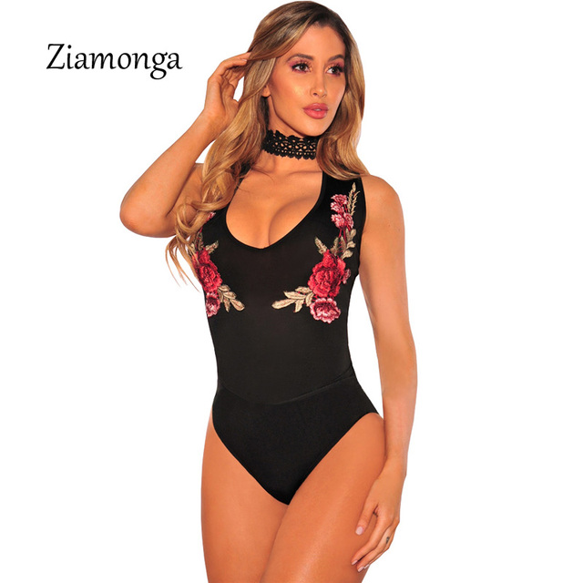 Ziamonga Women Bodysuit Black Rose Embroidery Sexy O-Neck Lace Bodysuit  Rompers Womens Jumpsuit Sexy