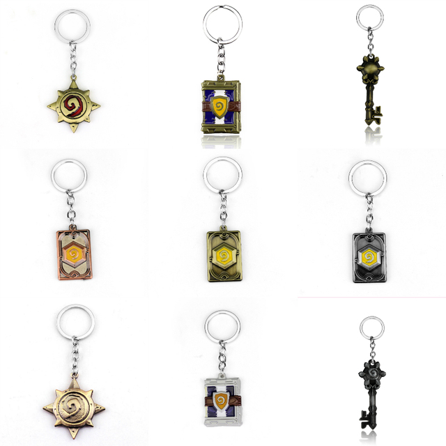 US $1 44 |Game Peripheral WOW Logo Keychain Hearthstone Sculpted Metal  Keyring for Fans Collection Alloy Metal Magic Book Keychain Holder-in Key