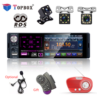 Topbox 4.1 1 Din Car Radio Bluetooth Touch Screen Autoradio RDS USB AUX MP5 Video Player MP3 Auto Audio Stereo Rearview Camera