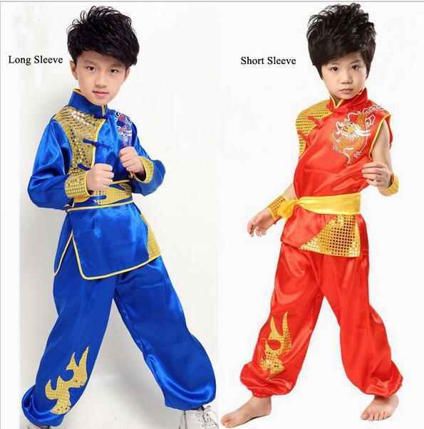 Детская Китайская народная одежда, Детский костюм фу Конг с драконом для мальчика, костюм Ушу, одежда тайцзи, Китайская национальная одежда 16 folk clothes chinese folk costumechinese child costume   АлиЭкспресс