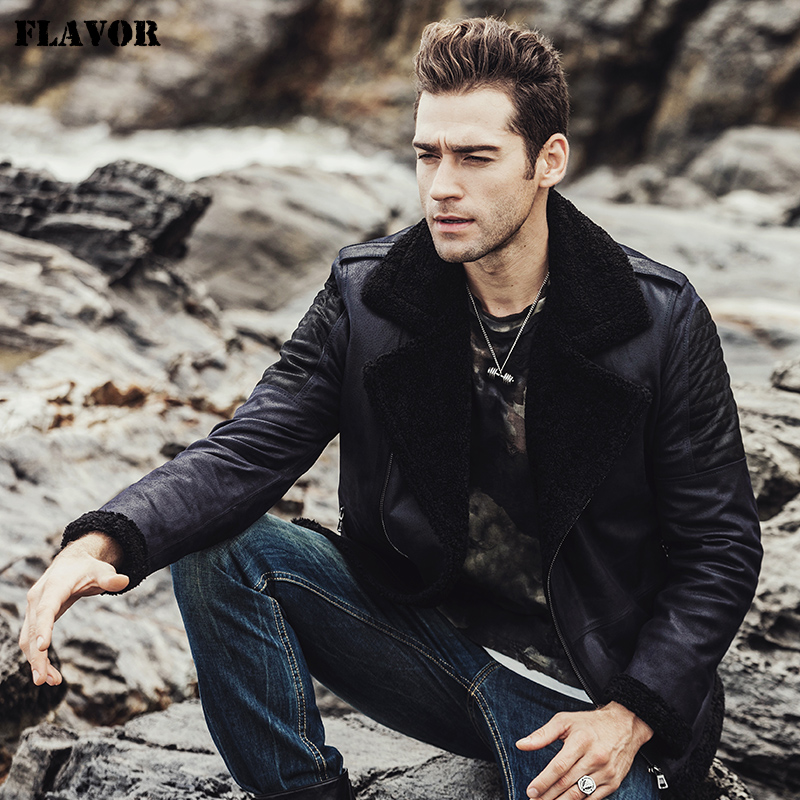 FLAVOR 2017 New men's Winter pigskin Genuine Leather Jacket with faux fur shearling  jacket male Real Leather Jacket