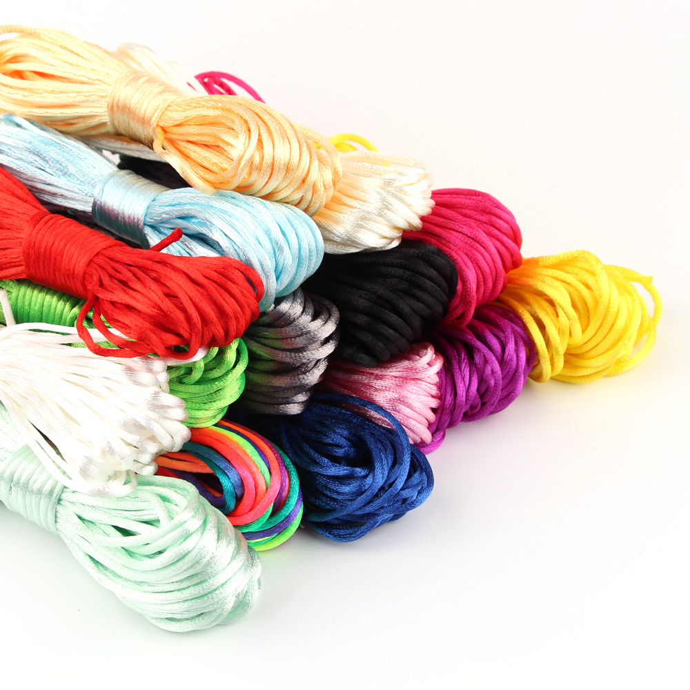 TYRY.HU MultiColor 10meter Satin Nylon Cord Solid Rope Plastic Breakaway Clasps For Jewelry Making DIY Necklace Pacifier Chain