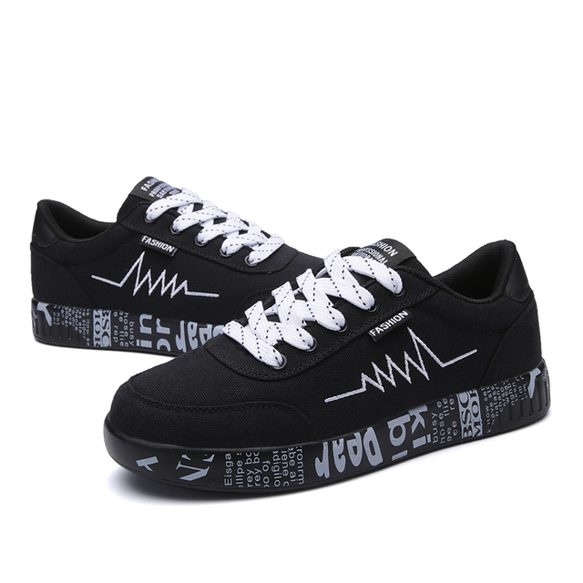 HZXINLIVE 2018 Fashion Women Vulcanized Shoes Sneakers Ladies Lace-up Casual Shoes Breathable Walking Canvas Shoes Graffiti Flat 2