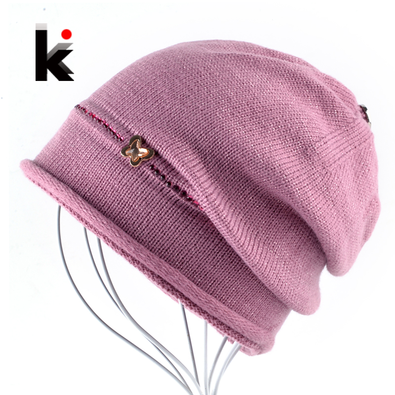 2018 Female Beanie Bonnet Hats For Autumn Winter Rhinestone Metal Butterfly Knitted Caps Women Outdoors Casual Knit Skullies Hat(China)