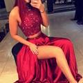 2016 Exquisite Beaded Top Long Dark Red Homecoming Dress 2 Pieces High-neck A Line satin Crystal Vestidos De Formatura Curto