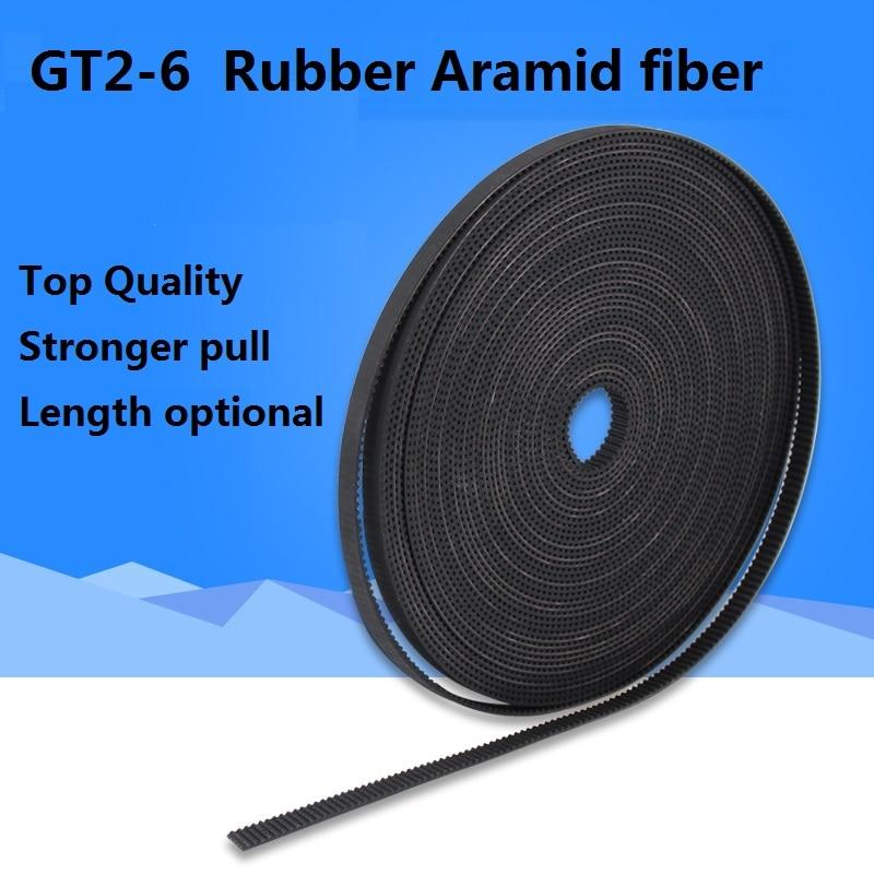 5 m/10 m//20 m/50 m/partij GT2-6mm/10mm open distributieriem GT2 riem rubber Aramid Fiber cut om lengte voor 3D printer groothandel