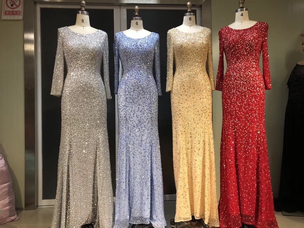 New Arrival Long Evening   Dress   2018 Scoop Long Sleeves Floor Length Beading Sequined Tulle Mermaid Long Sleeves   Prom     Dresses