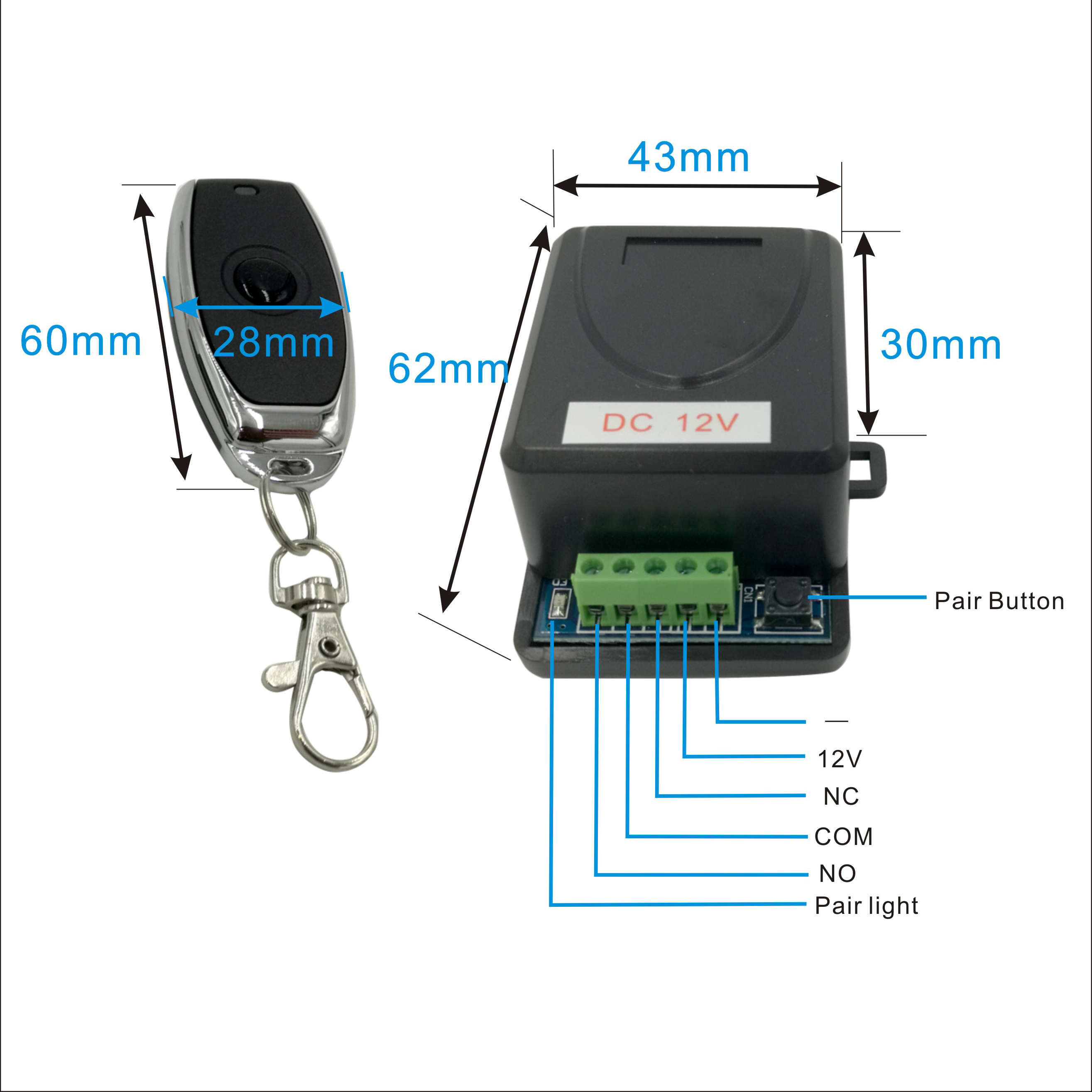 DC12V 433MHz Metal Wireless Remote Control Switch For Door Lock Access Control Remote Exit Button Of Door Key