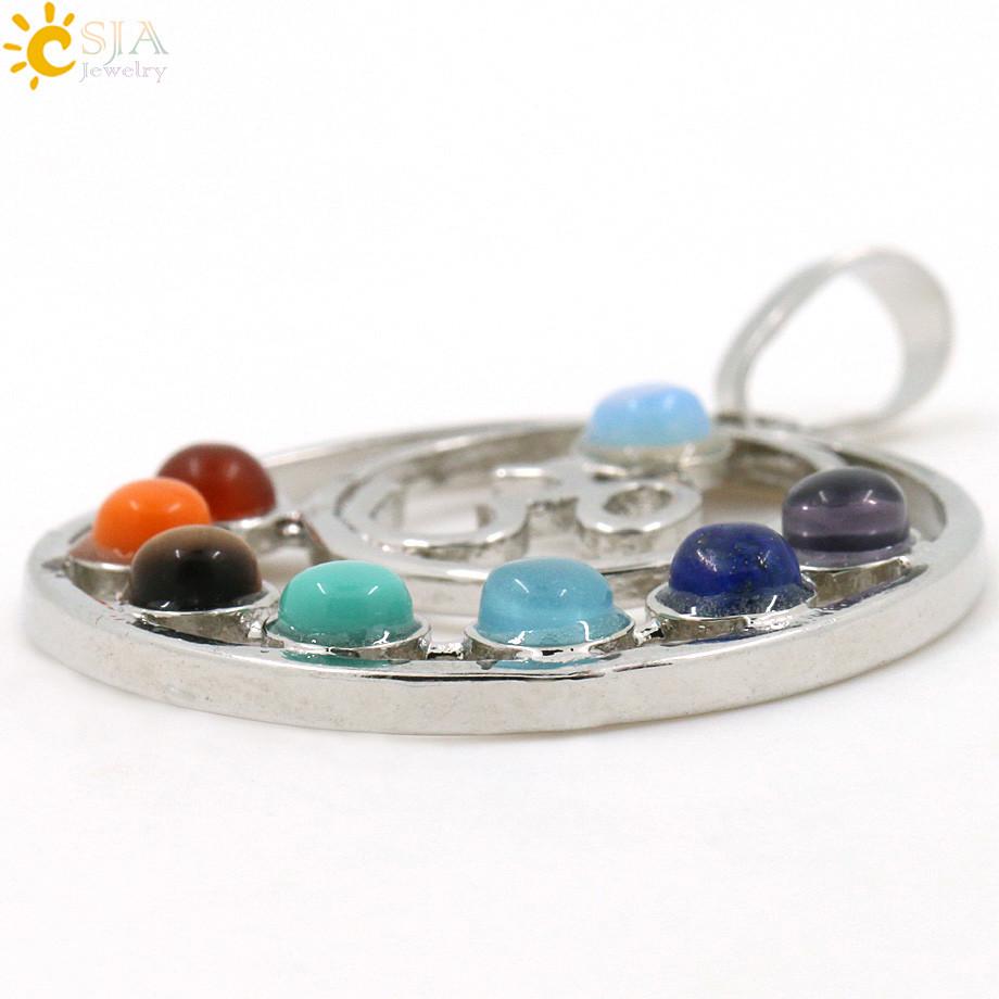 Health Amulet Healing 7 Chakra Symbols Gem Stone Charms Pendant