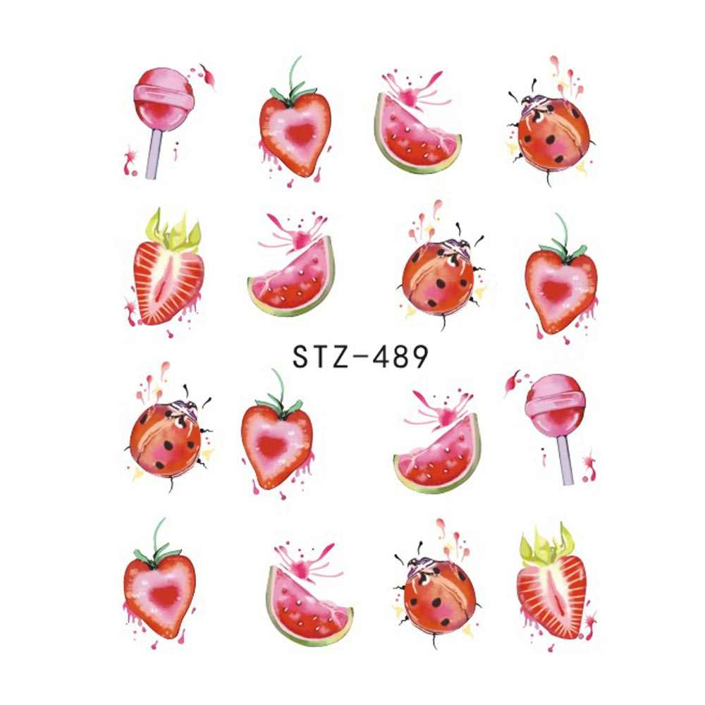 1 Pcs Aardbei Zomer Fruit Drinken Stickers Voor Nagels Manicure Nail Art Design Water Transfer Watermerk Beauty Decals Trstz