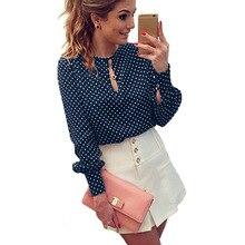 New 2017 Polka dot Print Women Blouses Chiffon Large Size Shirts Blusa Women's Clothing blouse shirt hollow out Vintage Tops