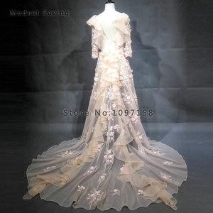 Image 2 - Robes de soirée perlées sirène romantique 2018 avec épaule à volants à manches longues robe de soirée de fiançailles robe de bal vestido longo de festa